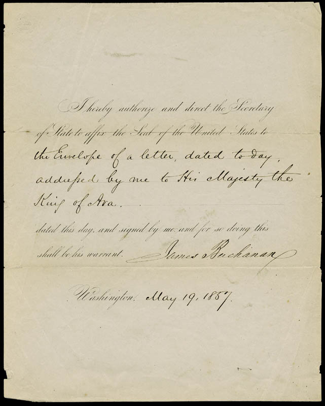 Image 1 for President James Buchanan - Presidential Warrant Signed 05/19/1857 - HFSID 32404