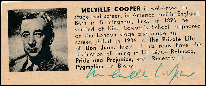 Image 1 for Melville Cooper - Directory Photo Signed - HFSID 324046