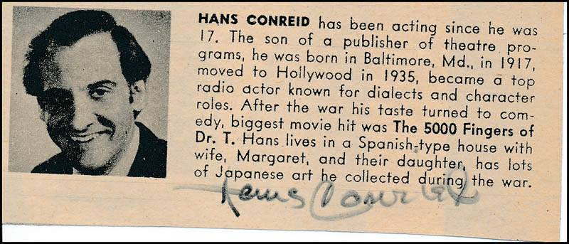 Image 1 for Hans Conried - Directory Photo Signed - HFSID 324051