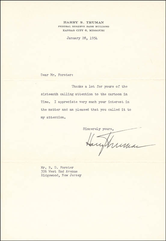 Image 1 for President Harry S Truman - Typed Letter Signed 01/28/1954 - HFSID 32410