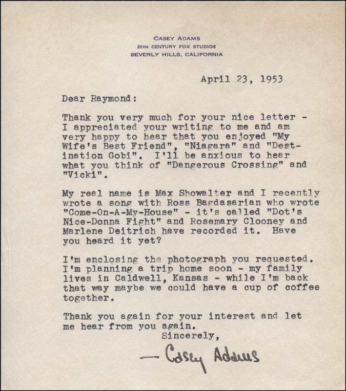 Max (Casey Adams) Showalter - Typed Letter Signed 04/23/1953