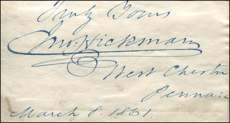Image 1 for John Hickman - Autograph Sentiment Signed 03/08/1861 - HFSID 324181