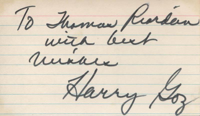 Image 1 for Harry G. Goz - Autograph Note Double Signed - HFSID 324227