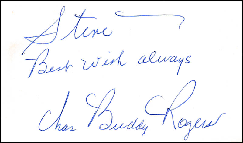 Image 1 for Charles 'Buddy' Rogers - Autograph Note Signed - HFSID 324277