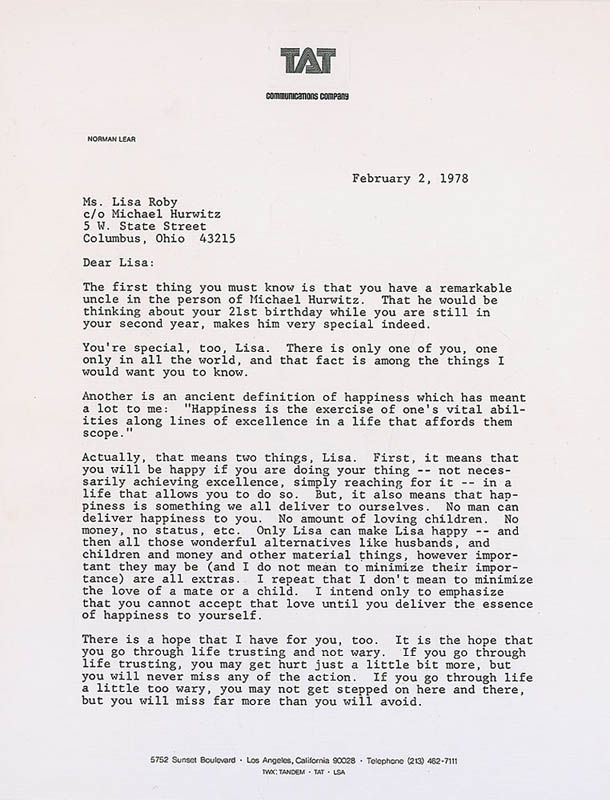 Image 3 for Norman Lear - Typed Letter Signed 02/02/1978 - HFSID 324308