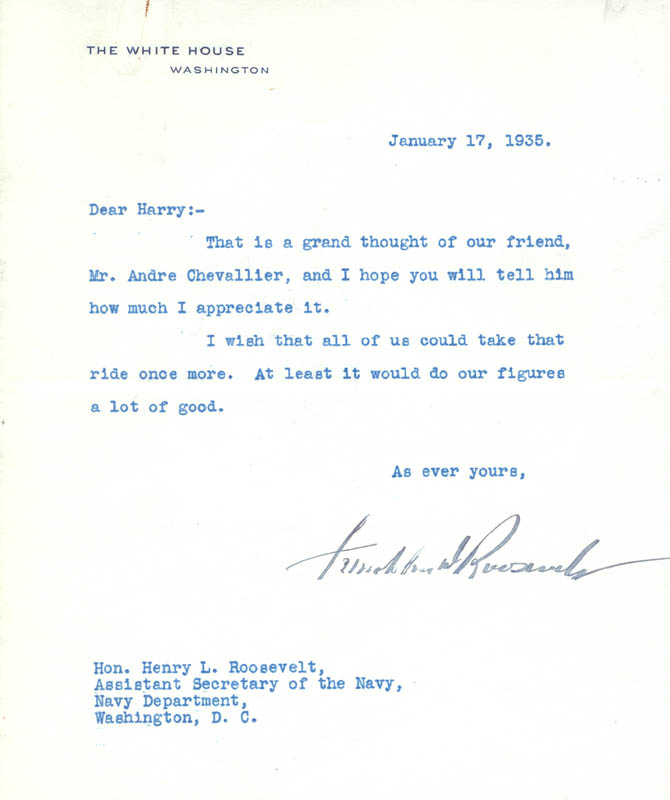 Image 1 for President Franklin D. Roosevelt - Typed Letter Signed 01/17/1935 - HFSID 32439