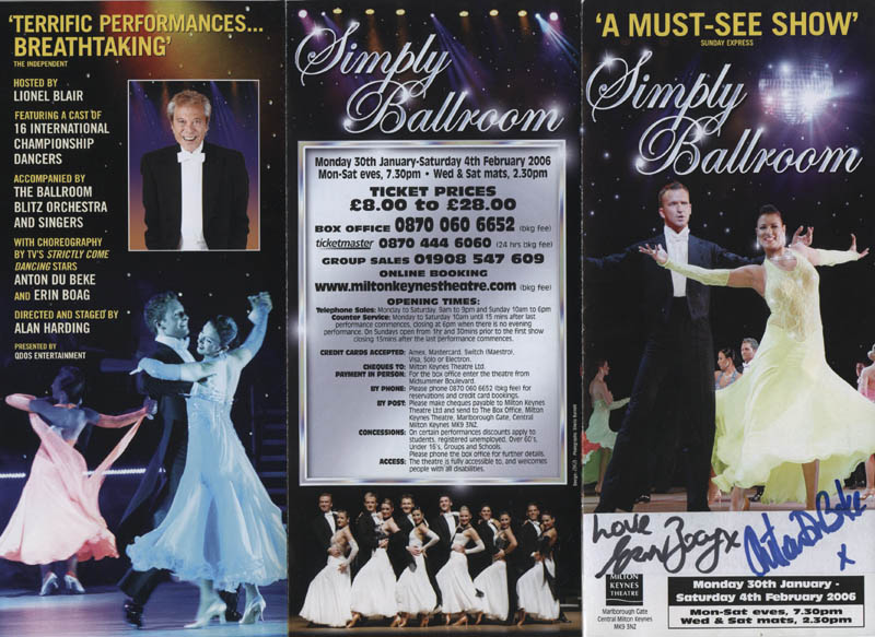 Image 1 for Simply Ballrooom Play Cast - Advertisement Signed co-signed by: Erin Boag, Anton Du Beke - HFSID 324421