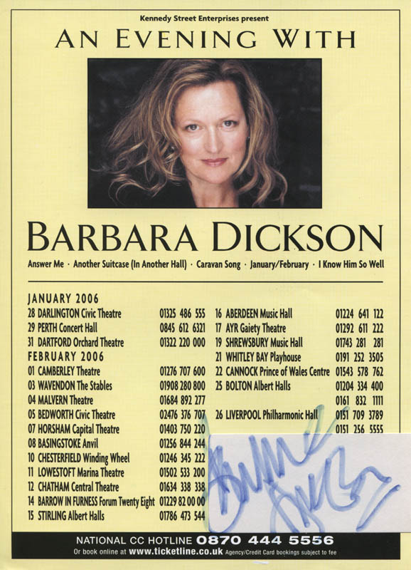 Image 1 for Barbara Dickson - Advertisement Signed - HFSID 324445