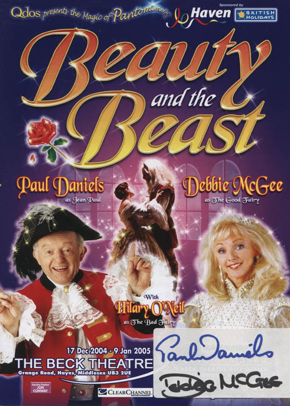 Image 1 for Beauty And The Beast Play Cast - Advertisement Signed co-signed by: Paul Daniels, Debbie Mcgee - HFSID 324462