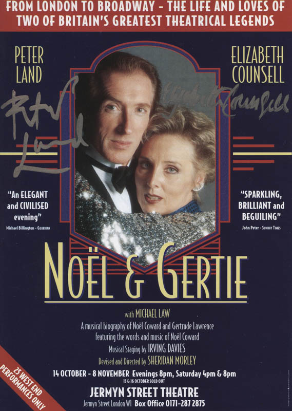 Image 1 for Noel & Gertie Play Cast - Advertisement Signed co-signed by: Elizabeth Counsell, Peter Land - HFSID 324512