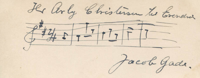 Image 1 for Jacob Gade - Inscribed Autograph Musical Quotation Signed - HFSID 324859