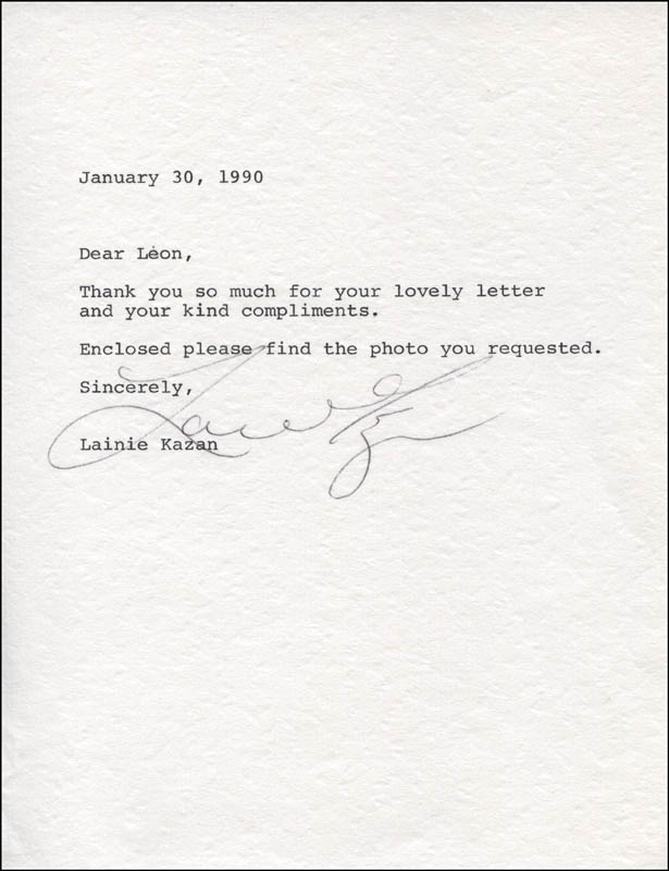 Image 1 for Lainie Kazan - Typed Letter Signed 01/30/1990 - HFSID 324995