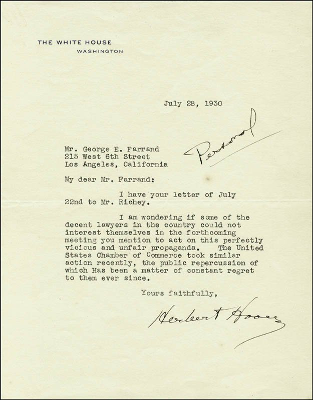 Image 1 for President Herbert Hoover - Typed Letter Signed 07/28/1930 - HFSID 3250
