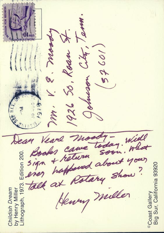 Image 1 for Henry Miller - Autograph Note Signed 08/30/1978 - HFSID 32510