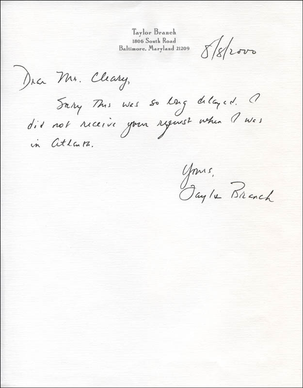 Image 1 for Taylor Branch - Autograph Letter Signed 08/08/2000 - HFSID 325236