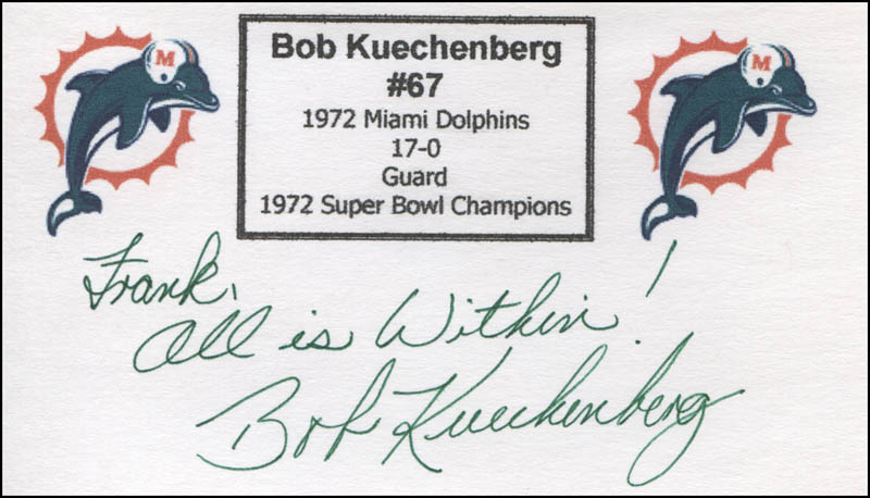 Image 1 for Bob Kuechenberg - Autograph Note Signed - HFSID 325360