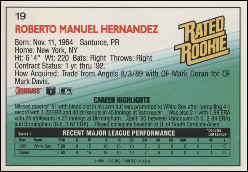 Image 3 for Roberto Hernandez - Trading/Sports Card Signed - HFSID 325394