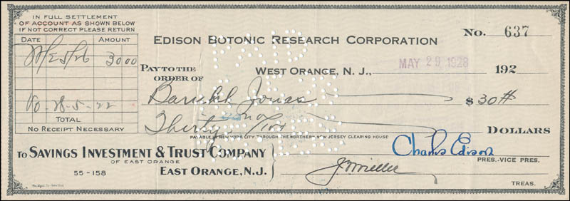 Image 1 for Governor Charles Edison - Autographed Signed Check 05/28/1928 - HFSID 325491