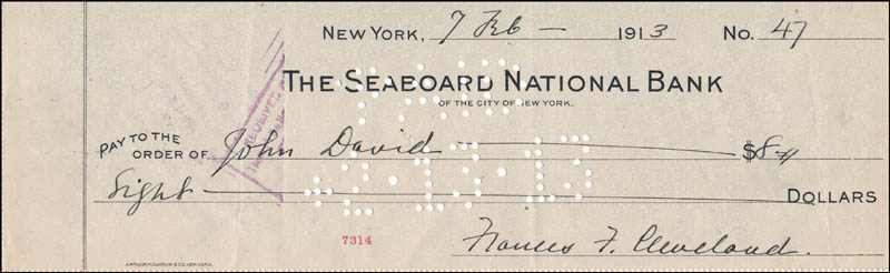 Image 1 for First Lady Frances F. Cleveland - Autographed Signed Check 02/07/1913 - HFSID 325498