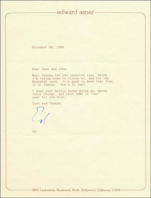 Image 1 for Ed Asner - Typed Letter Signed 12/28/1982 - HFSID 325585
