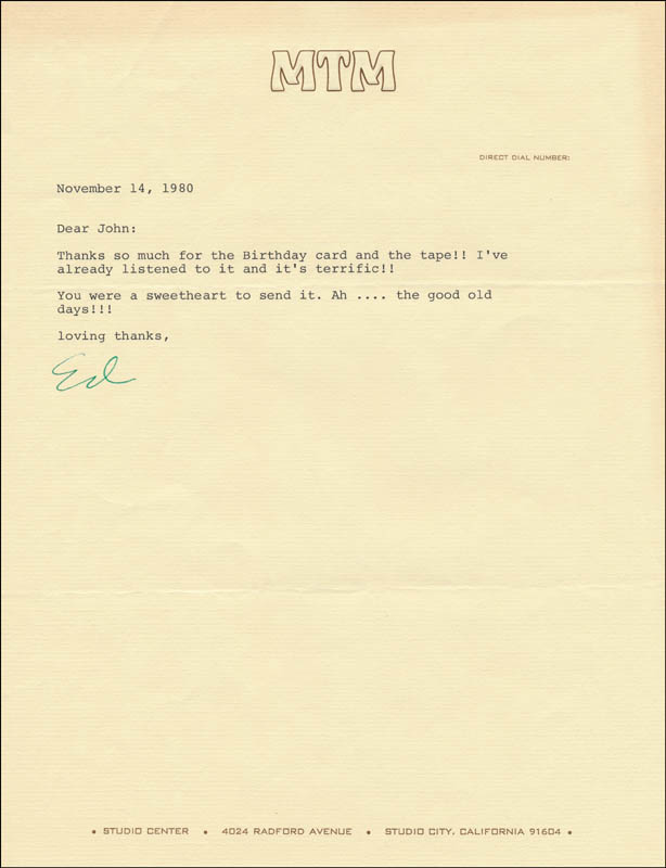 Image 1 for Ed Asner - Typed Letter Signed 11/14/1980 - HFSID 325591