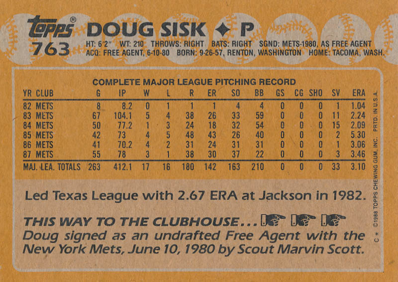 Image 3 for Doug Sisk - Trading/Sports Card Signed - HFSID 326181