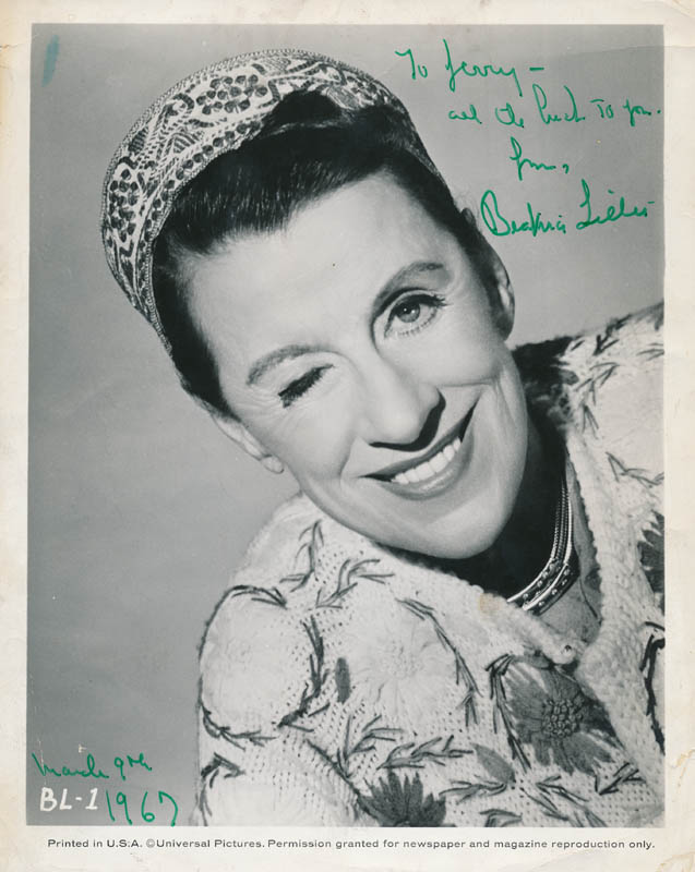 Image 1 for Beatrice Lillie - Autographed Inscribed Photograph 03/09/1967 - HFSID 326210