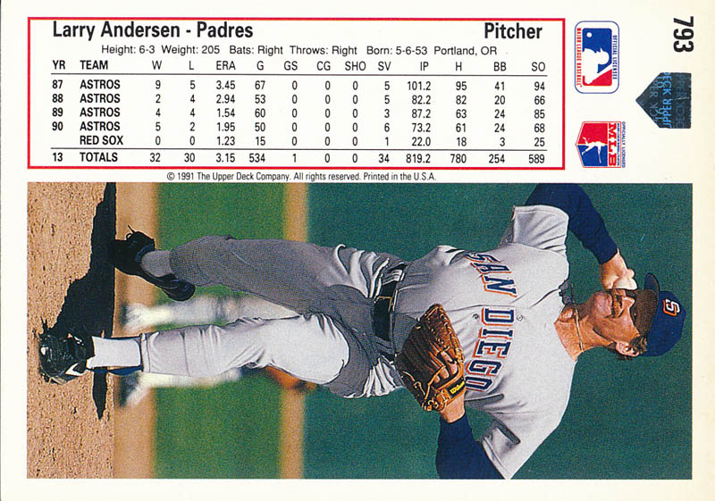 Image 3 for Larry Andersen - Trading/Sports Card Signed - HFSID 326285