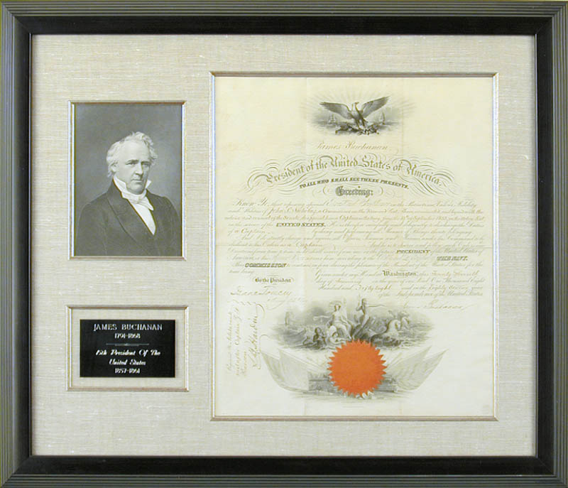 Image 1 for President James Buchanan - Naval Appointment Signed 01/27/1858 co-signed by: Isaac Toucey - HFSID 3264