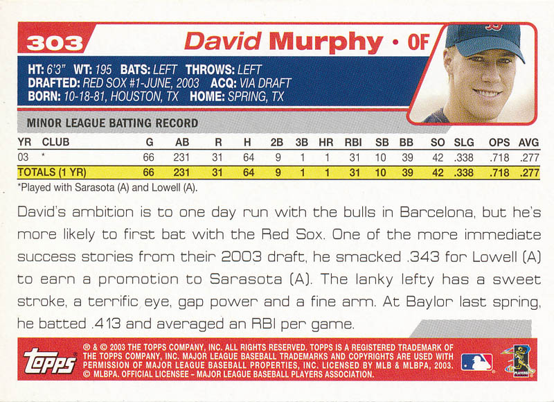 Image 3 for David Murphy - Trading/Sports Card Signed - HFSID 326436
