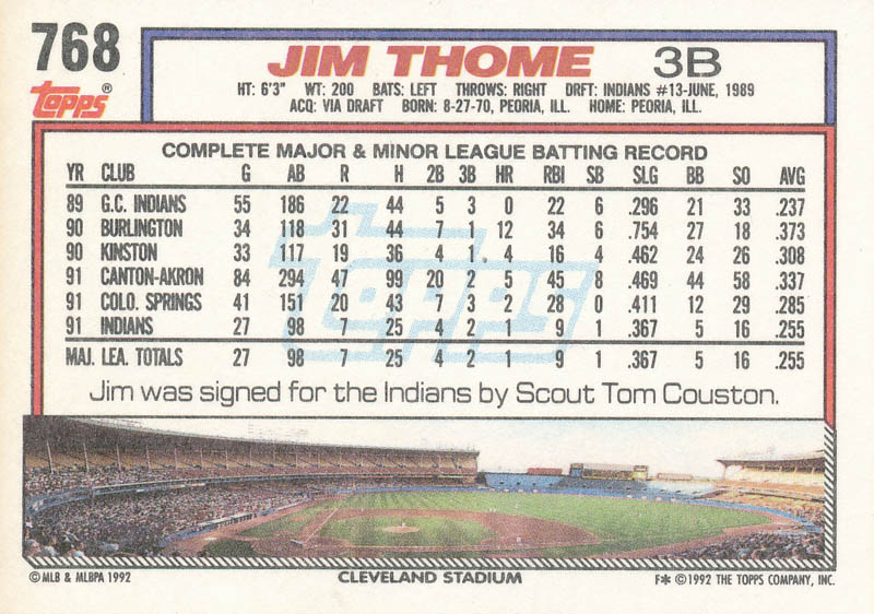 Image 3 for Jim Thome - Trading/Sports Card Signed - HFSID 326489