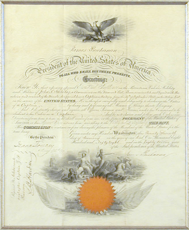 Image 4 for President James Buchanan - Naval Appointment Signed 01/27/1858 co-signed by: Isaac Toucey - HFSID 3264