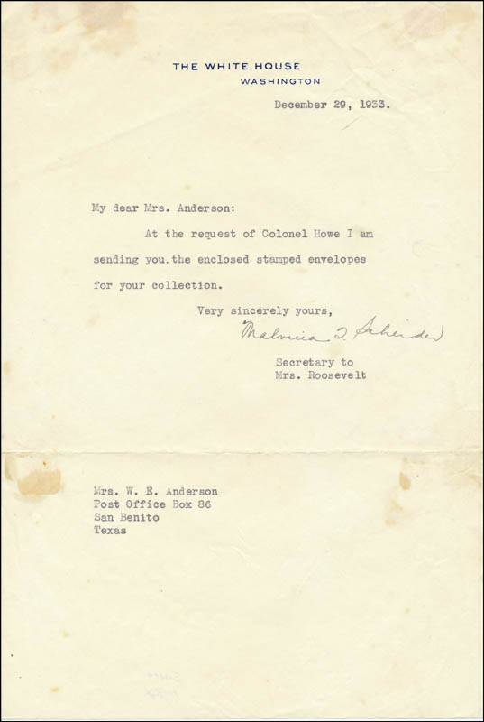 Image 1 for Malvina 'Tommy' Thompson - Typed Letter Signed 12/29/1933 - HFSID 326764