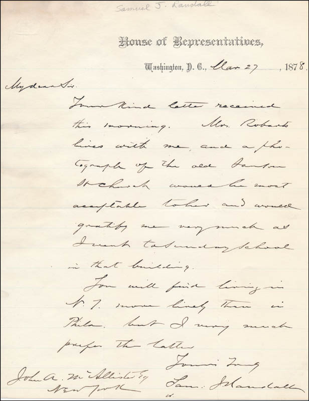 Image 1 for Samuel J. Randall - Autograph Letter Signed 03/27/1878 - HFSID 326774