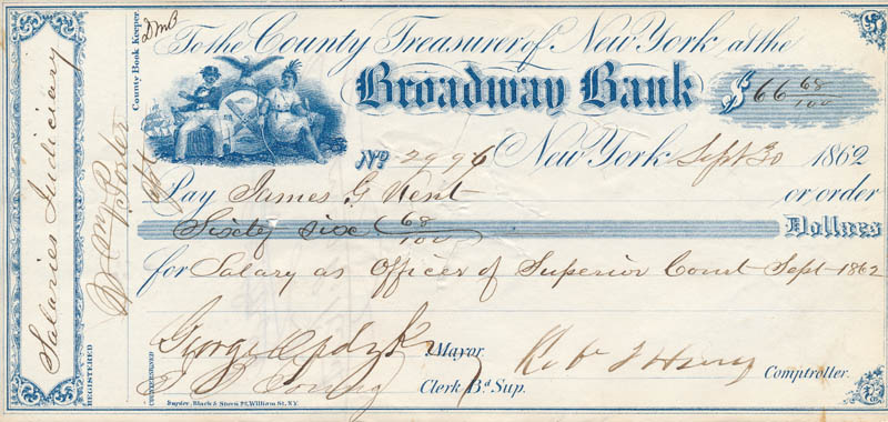 Image 1 for Mayor George Opdyke - Autographed Signed Check 09/30/1862 co-signed by: Robert T. Haws - HFSID 326778