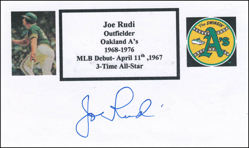 Image 1 for Joe Rudi - Printed Card Signed In Ink - HFSID 326820