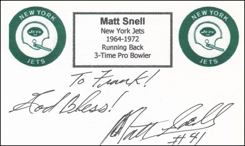 Image 1 for Matt Snell - Autograph Note Signed - HFSID 326838