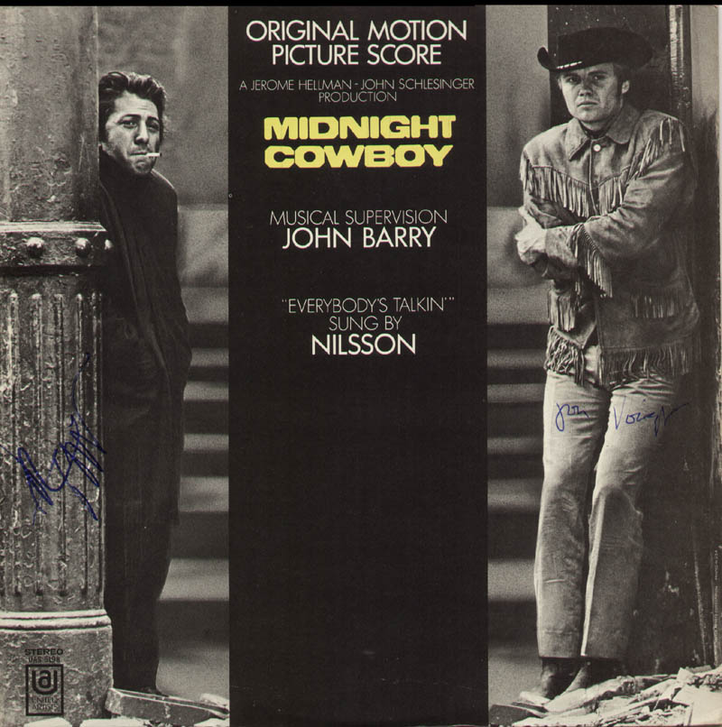 Image 1 for Midnight Cowboy Movie Cast - Record Album Cover Signed co-signed by: Dustin Hoffman, Jon Voight - HFSID 326869