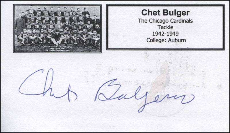 Image 1 for Chet Bulger - Printed Card Signed In Ink - HFSID 326921
