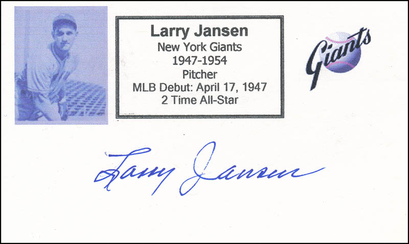 Image 1 for Larry Jansen - Printed Card Signed In Ink - HFSID 327022