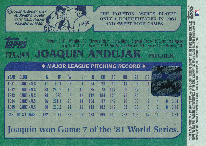 Image 3 for Joaquin Andujar - Trading/Sports Card Signed - HFSID 327195