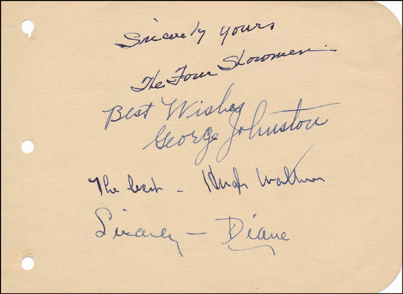 Image 1 for The Four Showmen (The Showmen) - Autograph Sentiment Signed co-signed by: Ted Talbot, Hugh Walter, George Johnston, Diane Herbert - HFSID 327218