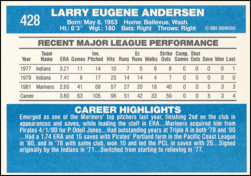 Image 3 for Larry Andersen - Trading/Sports Card Signed - HFSID 327792