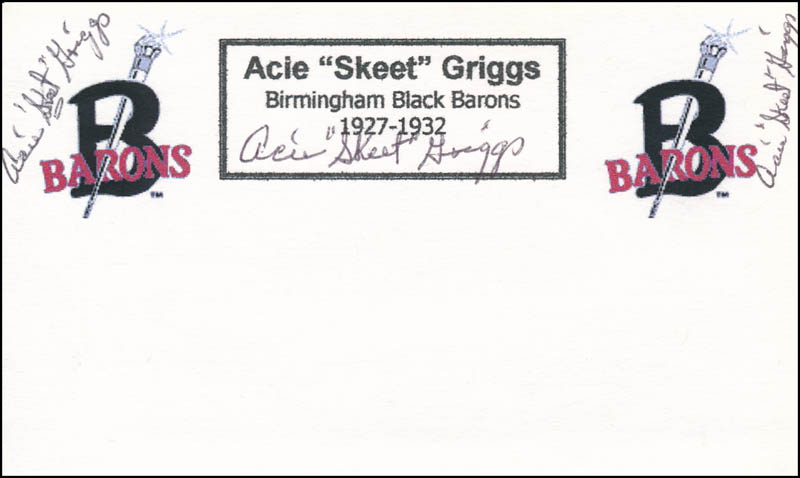 Image 1 for Acie 'Skeet' Griggs - Printed Card Signed In Ink - HFSID 327848