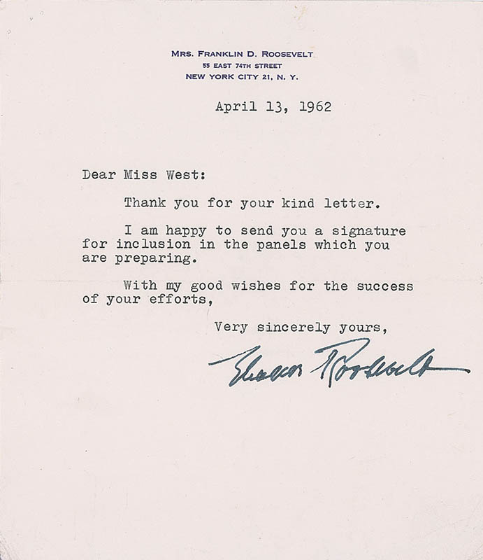 Image 1 for First Lady Eleanor Roosevelt - Typed Letter Signed 04/13/1932 - HFSID 327857