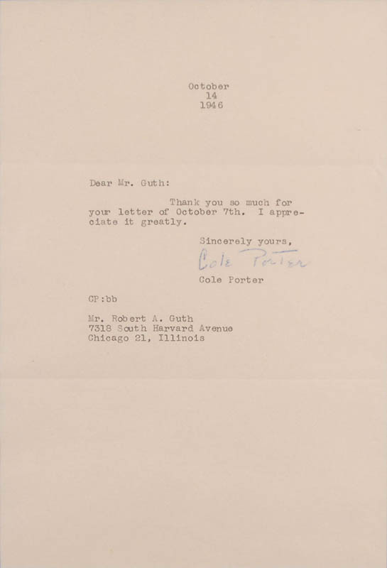 Image 3 for Cole Porter - Typed Letter Signed 10/14/1946 - HFSID 327867