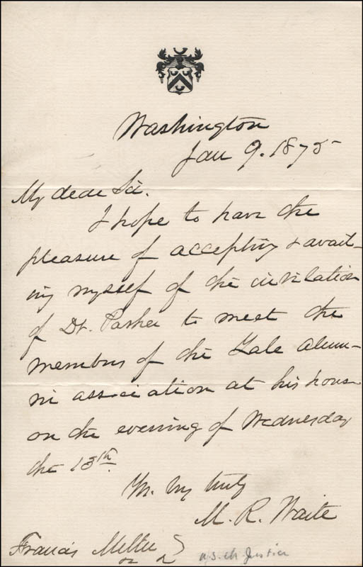 Image 1 for Chief Justice Morrison R. Waite - Autograph Letter Signed - HFSID 327890