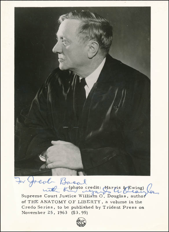 Image 1 for Associate Justice William O. Douglas - Printed Photograph Signed In Ink - HFSID 327943