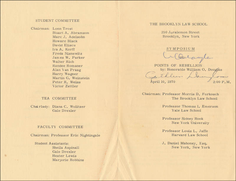 Image 1 for Associate Justice William O. Douglas - Program Signed Circa 1970 co-signed by: Cathleen (Mrs. William O.) Douglas - HFSID 327945