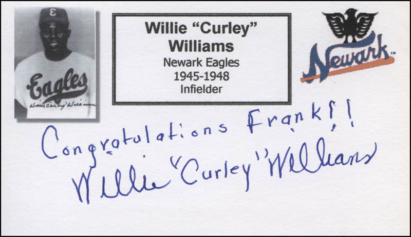 Image 1 for Willie 'Curly' Williams - Autograph Note Signed - HFSID 327991